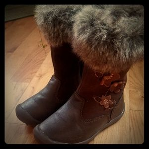 Hanna Andersson winter brown boots girl sz 9